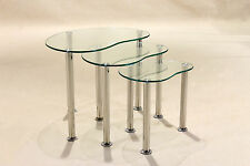 Clear Glass Nest of Tables Three Piece Oval Small Lamp Side End Coffee Table