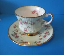 ELIZABETHAN CUP & SAUCER  VERY ATTRACTIVE LIGHT GREEN COLOR TINY ROSES EXCELLENT