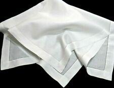 """Vintage Linen Luncheon Tea Cloth Tablecloth 40""""x39"""" Fine Linen w/2"""" Stitched Hem"""