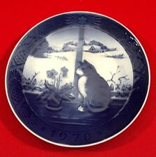 Vintage Royal Copenhagen Christmas Collector Plate, 1970, Christmas Rose and Cat