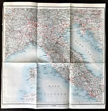 ANTIQUE 1909 COLOR CITY MAP PLAN of ITALY ~ Authentic Karl Baedeker ~ Original
