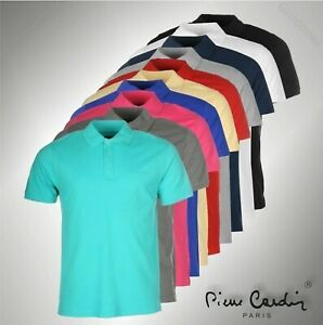 Mens Pierre Cardin Short Sleeves Plain Polo Shirt Top Sizes from S to XXXXL