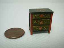 VINTAGE DOLLHOUSE MINIATURE TEENY TINY HAND PAINTED WOOD DRESSER w FLOWERS 7/8""