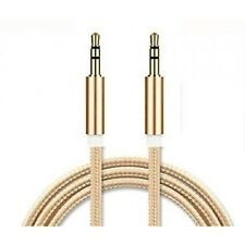 Gold 1.2 Meter Aux Cable 3.5 mm Jack Male to male plug Cable  Audio Lead UK