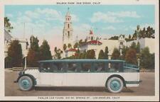 San Diego CA Balboa Park Parlor Car Tours Vintage 1930s Era PC Rare