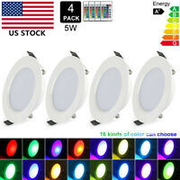 4X RGB Multi-Color Dimmable Recessed Ceiling LED Light Panel Downlight Spot Lamp