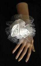 New Bespoke White Rose Wrist Corsage Bride Bridesmaid Wedding Guest Proms Races