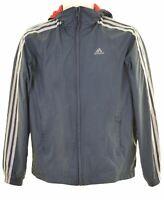 ADIDAS Boys Windbreaker Jacket 13-14 Years Grey Polyester  KI01