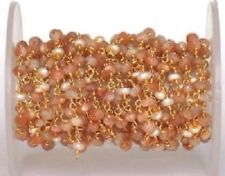 10 Feet Sunstone, Pearl Rondelle 3-4mm Beads, Rosary Beaded Chain Gold Plated