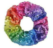 Bright Rainbow Sequin Style 4cm Large Hair Band Scrunchie Ponytail Brand New