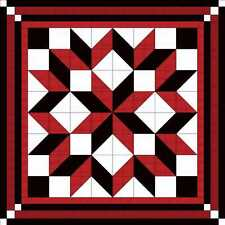 Quilt Kit/Carpenter Wheel/Red Black and White/Pre-cut Fabric Ready To Sew/Queen