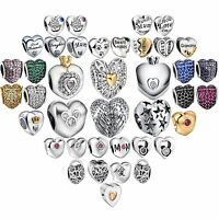 Fashion Heart Charms European Bead For 925 Sterling Solid Silver Bracelet Bangle