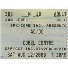 AC/DC & SLASH'S SNAKEPIT Concert Ticket Stub OTTAWA 8/12/00 CANADA GUNS N ROSES