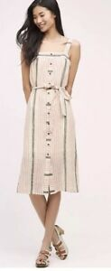 7. NWT 12 $148 Anthropologie Holding Horses SANIBEL Striped Belted Casual Dress