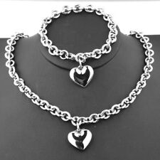 New Arrive Womens Silver Stainless Steel Rolo Chain Heart Necklace Bracelet Set