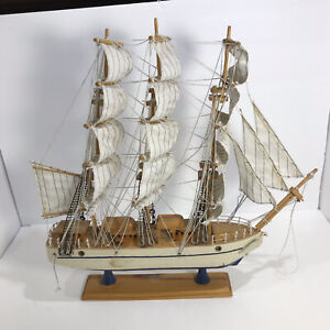 "Vintage Handmade Wooden Three Masted Ship Model 20"" x 20"""