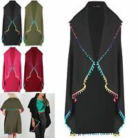 Womens Ladies Waterfall Rainbow Pom Pom Sleeveless Open Baggy Cape Cardigan Top