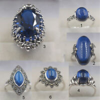 Natural Blue Chalcedony with 925 Sterling Silver Ring For Women Men Size 4-10