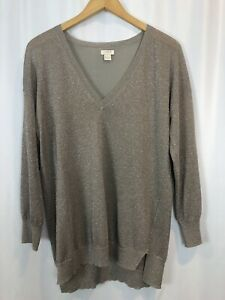J Crew Metallic V Neck Lightweight Sweater Sparkly Size Large Silver Gold