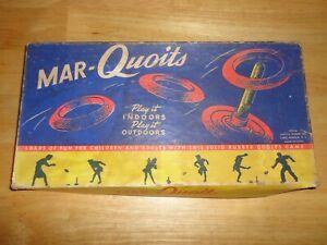 Vintage Mid-Century MAR-QUOITS MAR QUOITS Backyard Outdoor Game w/ Original Box
