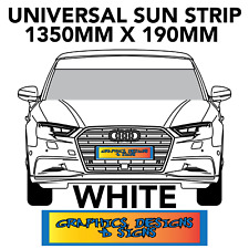 GLOSS WHITE WINDSCREEN SUNSTRIP 1350mm x 190mm  CAR  DECALS STICKERS  GRAPHICS