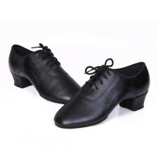 Men's Black Genuine Leather Latin Dance Shoes Soft Outsole Ballroom Dancing Shoe