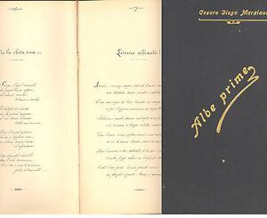 Cesare Diego Marziano. Albe prime manoscritto poesie anni 1909 1910 1911