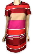 Lanvin New 'Robe' Dress Red Multi-Color Short Sleeve Sz 36 US 2 Stripe NWT $2585