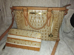 Brahmin Mini Arno Leather Satchel Handbag Purse Shoulder Bag Suri Wallet Croc