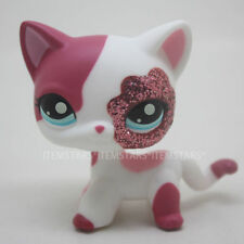 Littlest Pet Shop Cat Pink & White Glitter Sparkle Shorthair LPS (L49)