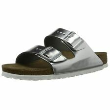 Birkenstock Arizona Silver Leather Soft Footbed Womens Comfort Sandals New