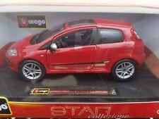 1/24 Bburago Fiat Punto EVO Red Diecast Model Car Red 18-21053