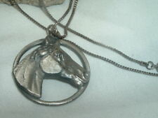Pendant Necklace In Gift Box Vintage Kentucky Derby Pewter Horse