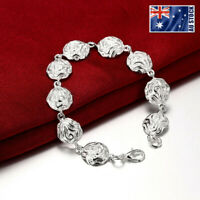 New 925 Sterling Silver Filled Womens Solid Flower Charm Bangle Bracelet 8''