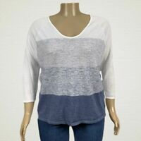 NEW Old Navy Color Block Stripe Light Sweater Shirt XL White Heather Blue Cotton