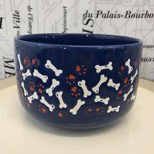 Waechtersbach Dog Bowl Bones Blue White Red Made in Germany 7.5 Inch Diameter