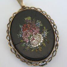 Antique Victorian 10k Gold Micromosaic Micro Mosaic Flower Pendant Brooch Pin