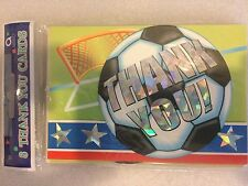 8 Thank You Cards and 8 Envelopes. (New) Amscan:  Soccer Spirit :