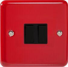 Interruptor de luz roja brillante Pillarbox 2 Gang - 1 o 2 vías-Varilight Lily Gama