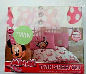 Minnie Mouse Twin Sheet Set  Cotton Blend NIP