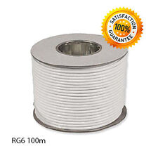 Coaxial Cable RG6 - 100m White. For Sky Freesat Freeview Saorview / HQ Single
