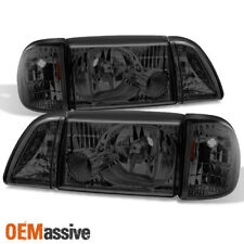 Fit 87-93 Mustang Smoke Headlights w/ Corner & Parking 6Pcs Complete Replacement