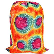 JUMBO Nylon Laundry Bag TIE-DYE ORANGE Heavy Duty College Dorms Laundromat
