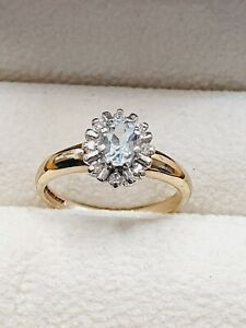 9ct Gold Aquamarine & Diamond Cluster Ring Size L 3/4