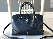 COACH Mercer 30 Satchel Navy Blue Grain Leather Satchel Handbag Crossbody   $395