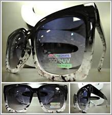 OVERSIZED VINTAGE RETRO Style SUN GLASSES Rare Large Black & White Marble Frame