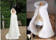 Adult Wedding Cloak Bridal Renaissance Medieval Hooded Cape Shawl Kids Cloak