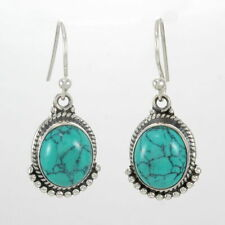 "Turquoise Cabochon Gemstone 925 Sterling Silver Earrings Jewelry S 1.25"" #2215"
