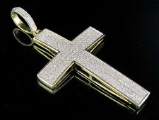 10k Yellow Gold Dome Cross Genuine Diamond Paved Pendant Charm 1/2 Ct 1.8 Inches