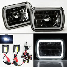 "7X6"" 8K HID Xenon H4 Black Chrome Glass CCFL Halo Headlight Conversion Plym"